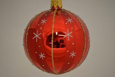 Vianočná guľka 7 cm, červená
