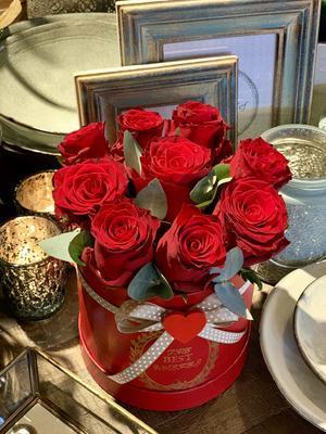 Kvetinový box z ruží, 9 ks
