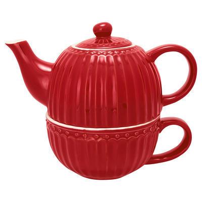 GreenGate šálka s čajníkom Alice red - 1