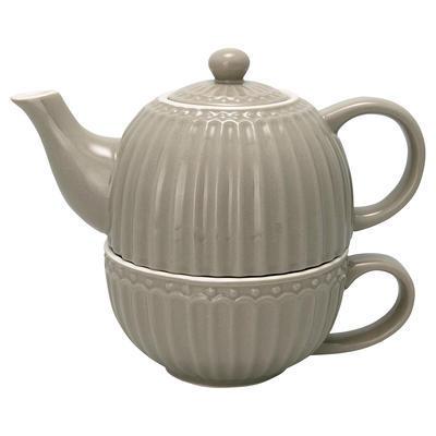 GreenGate šálka s čajníkom Alice warm grey