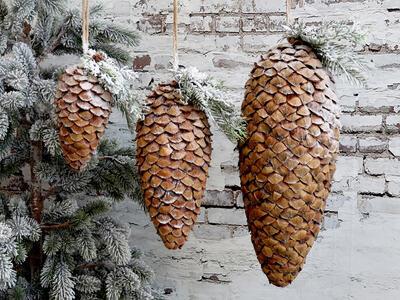 Vianočná šuška prírodná  závesná dekorácia priemer 10cm x18cm - 1
