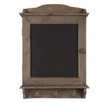 Drevená nástenná polica s háčikmi a tabuľkou  34*8*47 cm - 1