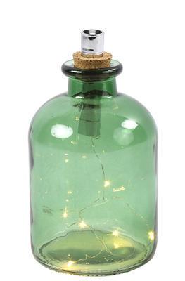 Fľaška sklo OLEG  s LED svetielkom, zelená