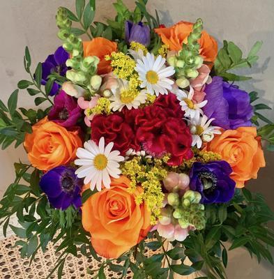 Kytička oranžovo-fialovo-biela