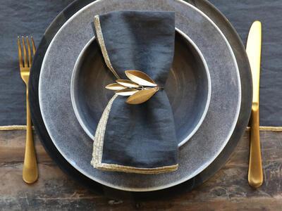 Prsteň na servítok zlatý list - 1