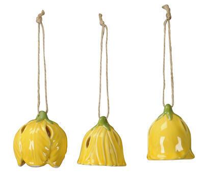 Keramický zvonček - závesná dekorácia výška 5,5cm/ 6cm