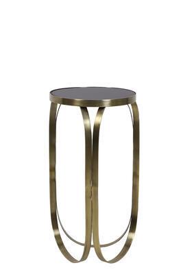Konzola, príručný stolík BUBISA Ø40x80cm čierne sklo-antique bronze - 1