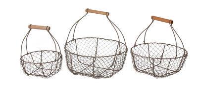 Košík pletený - kovový s rúčkou 21cm/26cm/29cm