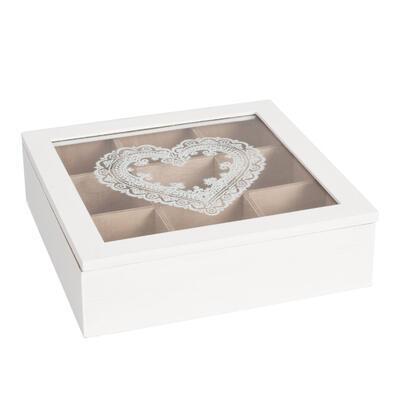 Krabička na čaj drevo 24*24*7 cm
