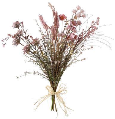 Umelá kytica - sušené lúčne kvety, ružová