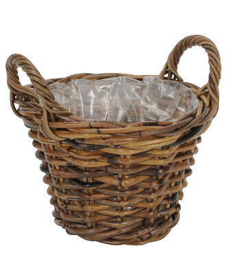 Ratanový košík - obal na rastlinu priemer 20cm a 26cm, priemer 26cm výška 19cm + rúčky