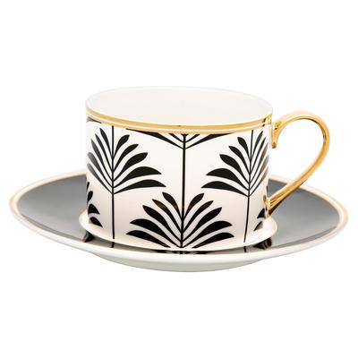 GreenGate šálka na čaj cappucino Maxime black