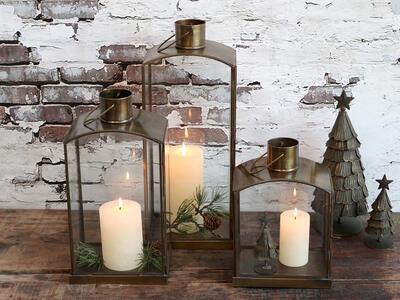 Svietnik, lampáš, lucerna výška 40cm/ 31,5cm/ 23,5cm - 1