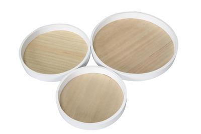 Tácka/ podnos bielo - prírodné drevo priemer 21/25/30cm