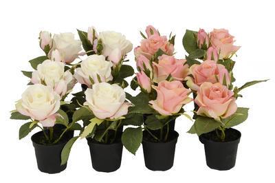 Kvet v kvetináči - ruža umelá dekoračná rastlina