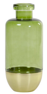 Váza LAILA Ø14x30 cm sklo moss green+gold