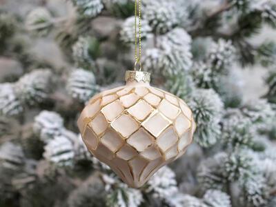 Vianočná guľka sklenená 8cm x 8cm - 1