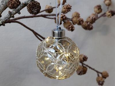 Vianočná guľka s LED svetielkami 8cm - 1