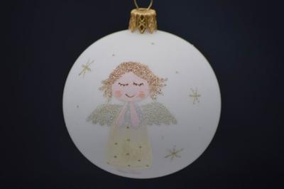 Vianočná guľka sklenená ručne zdobená 10x7 cm