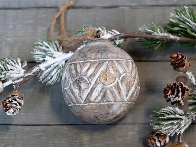 Vianočná guľka prírodná závesná dekorácia priemer 8cm - 1