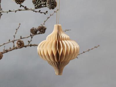 Vianočná origami ozdoba ornament priemer 10cm x 12cm - 1