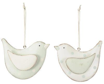 Vtáčik -závesná dekorácia 11x2,5x8,5cm, biely