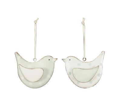 Vtáčik -závesná dekorácia 8,5x2x7cm, biely
