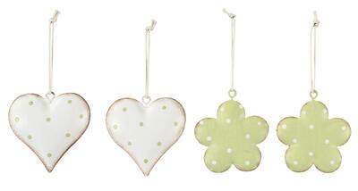 Srdiečko, kvietok - závesná dekorácia  6x6cm, srdiečko biele s bodkami