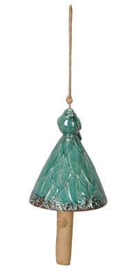 Zvonec na zavesenie s vtáčikom 14x26cm
