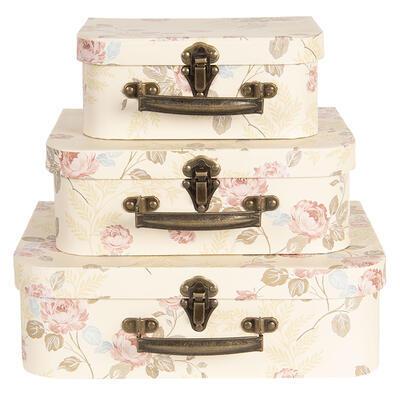 Dekoračný kufrík kvetinkový vzor, veľký - 2