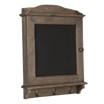 Drevená nástenná polica s háčikmi a tabuľkou  34*8*47 cm - 2