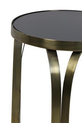 Konzola, príručný stolík BUBISA Ø40x80cm čierne sklo-antique bronze - 2
