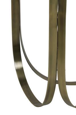 Konzola, príručný stolík BUBISA Ø40x80cm čierne sklo-antique bronze - 3