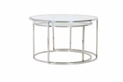 Stolík DUARTE nikel-glass, malý Ø65cmx 39cm - 3