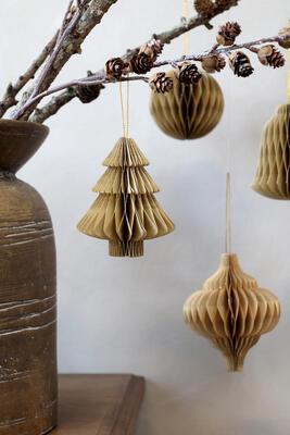 Vianočná origami ozdoba ornament priemer 10cm x 12cm - 3
