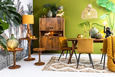 Jedálenská stolička OLIVE velvet ocher-black - 6